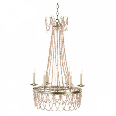 Amber Candle-Style Chandelier Finish: Pink