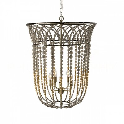 Flared Bell Lantern Pendant Finish: Gold/Gray