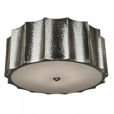 Hammered Metal Star Flush Mount Fixture Finish: Nickel, Size: 9 H x 22 W x 22 D