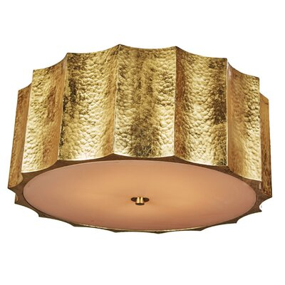 Hammered Metal Star Flush Mount Fixture Finish: Gold, Size: 9 H x 22 W x 22 D