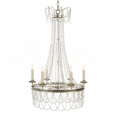 Amber Candle-Style Chandelier Finish: White