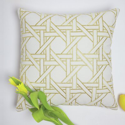 Regenia Cane Embroidered 100% Cotton Throw Pillow