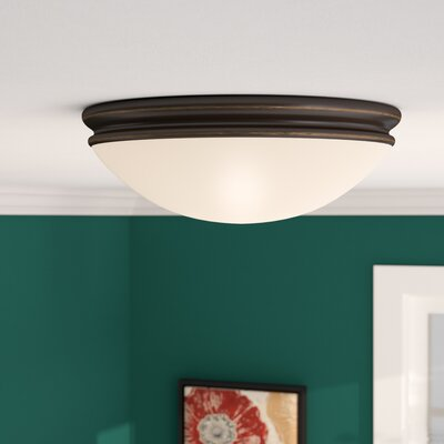 Metcalfe Flush Mount Finish: Oil Rubbed Bronze, Size: 3.5 H x 10 W x 10 D