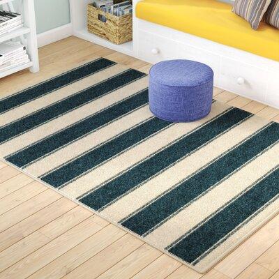 Portwood Bold Stripe Admiral Blue/Beige Indoor/Outdoor Area Rug Rug Size: 52 x 76