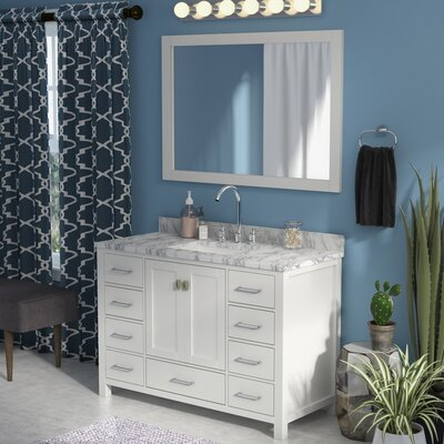 Raishon 48 Single Bathroom Vanity Set with Carrara White Top and Mirror Base Finish: White, Sink Shape: Square, Faucet Finish: No Faucet