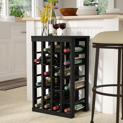 Karnes Redwood Table Top 24 Bottle Floor Wine Rack Finish: Black