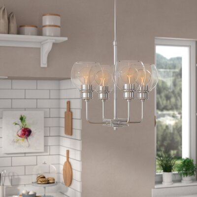 Maria 4-Light Shaded Chandelier Finish: Polished Nickel