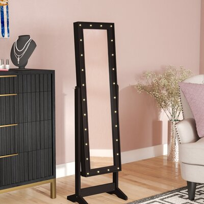 Lorna Free Standing Jewelry Armoire with Mirror Finish: Espresso
