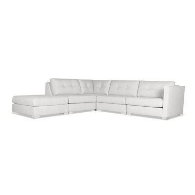 Steffi Buttoned Modular Sectional with Ottoman Upholstery: White, Orientation: Left Hand Facing