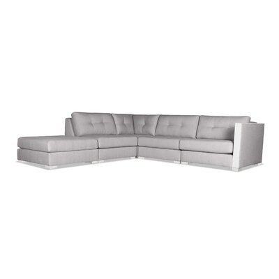 Steffi Buttoned Modular Sectional with Ottoman Upholstery: Gray, Orientation: Left Hand Facing