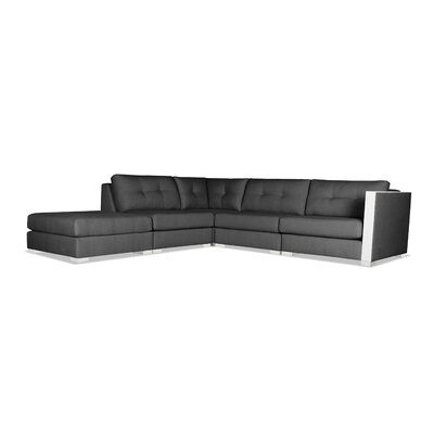 Steffi Buttoned Modular Sectional with Ottoman Upholstery: Charcoal, Orientation: Left Hand Facing