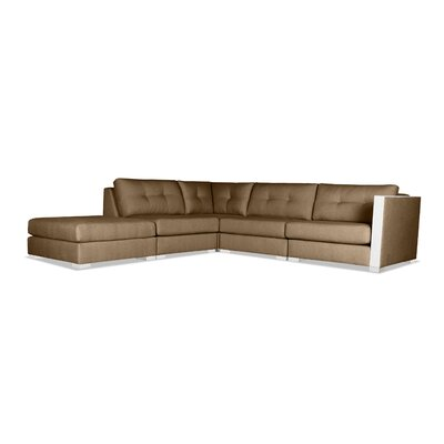 Steffi Buttoned Modular Sectional with Ottoman Upholstery: Brown, Orientation: Left Hand Facing
