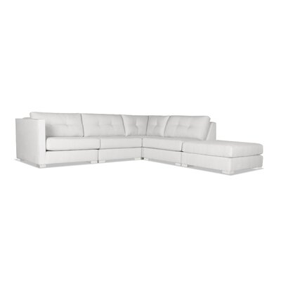 Steffi Buttoned Modular Sectional with Ottoman Upholstery: White, Orientation: Right Hand Facing