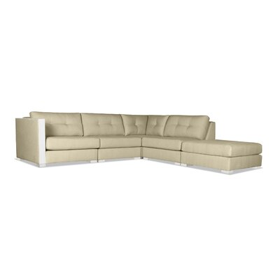 Steffi Buttoned Modular Sectional with Ottoman Upholstery: Sand, Orientation: Right Hand Facing