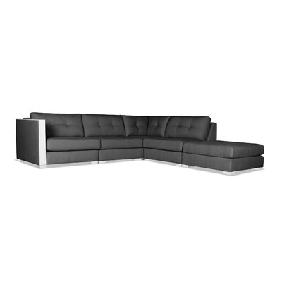 Steffi Buttoned Modular Sectional with Ottoman Upholstery: Charcoal, Orientation: Right Hand Facing