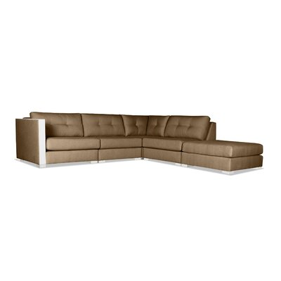Steffi Buttoned Modular Sectional with Ottoman Upholstery: Brown, Orientation: Right Hand Facing