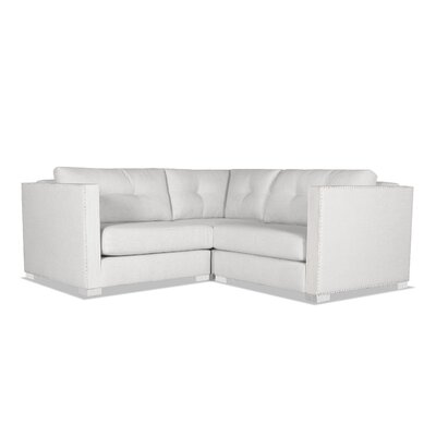 Steffi Buttoned Right and Left Arms L-Shape Mini Modular Sectional Upholstery: White