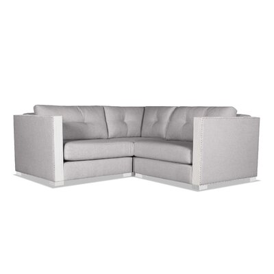 Steffi Buttoned Right and Left Arms L-Shape Mini Modular Sectional Upholstery: Gray