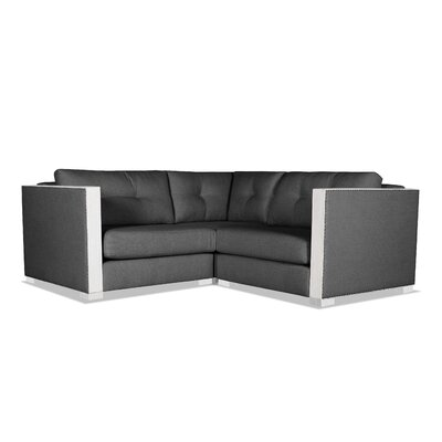 Steffi Buttoned Right and Left Arms L-Shape Mini Modular Sectional Upholstery: Charcoal