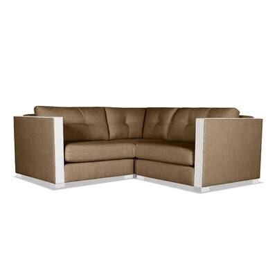 Steffi Buttoned Right and Left Arms L-Shape Mini Modular Sectional Upholstery: Brown