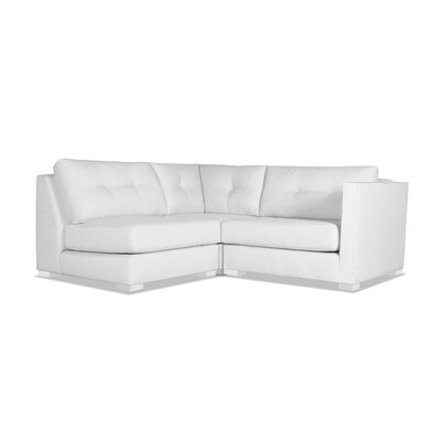 Steffi Buttoned L-Shape Mini Modular Sectional Upholstery: White, Orientation: Right Hand Facing