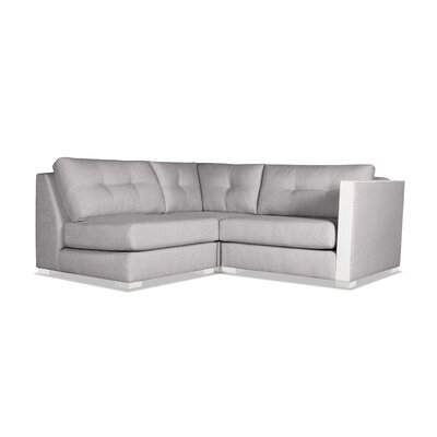 Steffi Buttoned L-Shape Mini Modular Sectional Upholstery: Gray, Orientation: Right Hand Facing