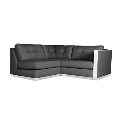 Steffi Buttoned L-Shape Mini Modular Sectional Upholstery: Charcoal, Orientation: Right Hand Facing