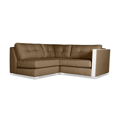Steffi Buttoned L-Shape Mini Modular Sectional Upholstery: Brown, Orientation: Right Hand Facing