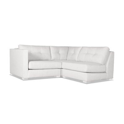Steffi Buttoned L-Shape Mini Modular Sectional Upholstery: White, Orientation: Left Hand Facing