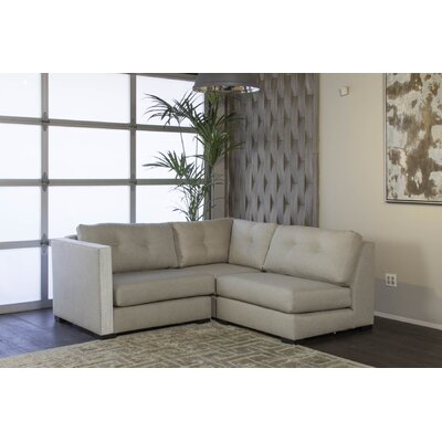 Steffi Buttoned L-Shape Mini Modular Sectional Upholstery: Sand, Orientation: Left Hand Facing