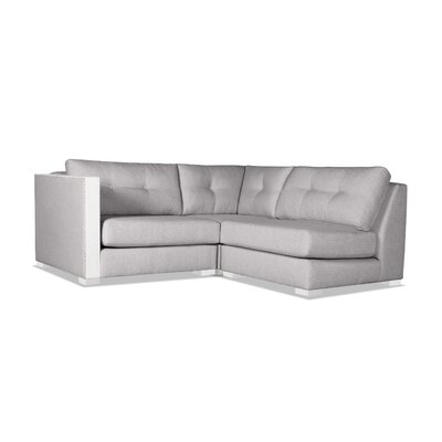 Steffi Buttoned L-Shape Mini Modular Sectional Upholstery: Gray, Orientation: Left Hand Facing