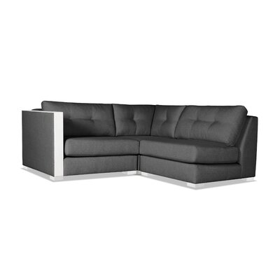 Steffi Buttoned L-Shape Mini Modular Sectional Upholstery: Charcoal, Orientation: Left Hand Facing