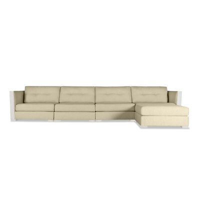 Steffi Buttoned Chaise Modular Sectional Upholstery: Sand, Orientation: Right Hand Facing
