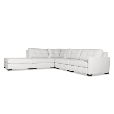 Secrest Buttoned L-Shape Modular Sectional with Ottoman Upholstery: White, Orientation: Right Hand Facing