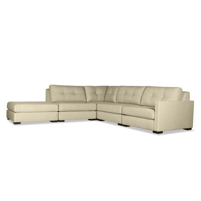Secrest Buttoned L-Shape Modular Sectional with Ottoman Upholstery: Sand, Orientation: Right Hand Facing