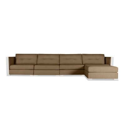 Steffi Buttoned Chaise Modular Sectional Upholstery: Brown, Orientation: Right Hand Facing