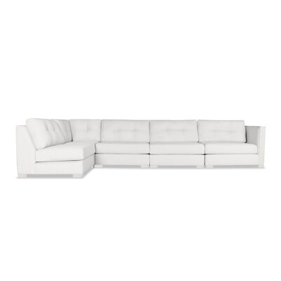 Steffi Buttoned Left L-Shape Modular Sectional Upholstery: White