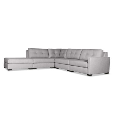Secrest Buttoned L-Shape Modular Sectional with Ottoman Upholstery: Gray, Orientation: Right Hand Facing