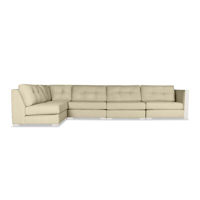 Steffi Buttoned Left L-Shape Modular Sectional Upholstery: Sand