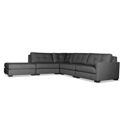 Secrest Buttoned L-Shape Modular Sectional with Ottoman Upholstery: Charcoal, Orientation: Right Hand Facing