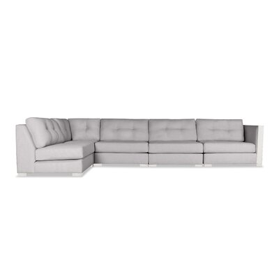 Steffi Buttoned Left L-Shape Modular Sectional Upholstery: Gray
