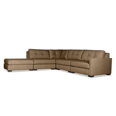 Secrest Buttoned L-Shape Modular Sectional with Ottoman Upholstery: Brown, Orientation: Right Hand Facing