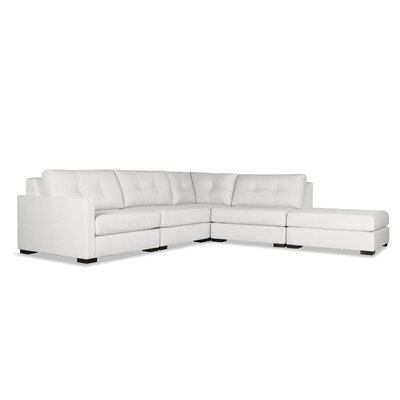 Secrest Buttoned L-Shape Modular Sectional with Ottoman Upholstery: White, Orientation: Left Hand Facing