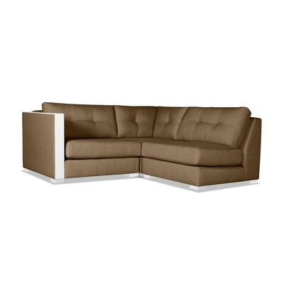 Steffi Buttoned L-Shape Mini Modular Sectional Upholstery: Brown, Orientation: Left Hand Facing