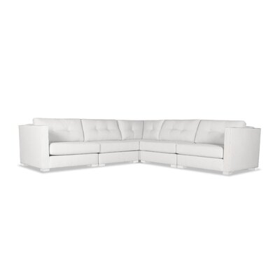 Steffi Buttoned L-Shape Modular Sectional Upholstery: White