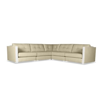 Steffi Buttoned L-Shape Modular Sectional Upholstery: Sand