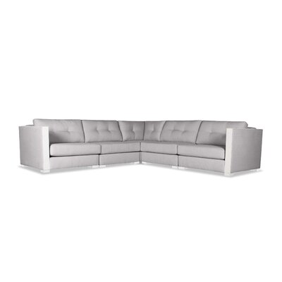 Steffi Buttoned L-Shape Modular Sectional Upholstery: Gray
