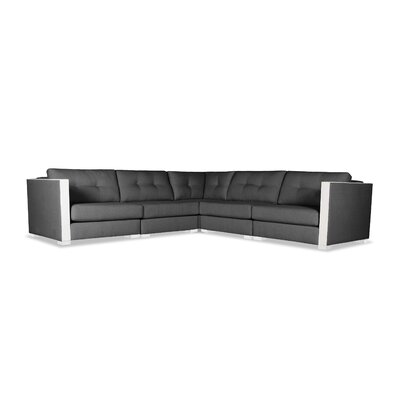 Steffi Buttoned L-Shape Modular Sectional Upholstery: Charcoal