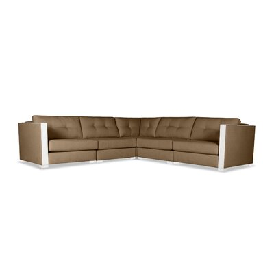 Steffi Buttoned L-Shape Modular Sectional Upholstery: Brown
