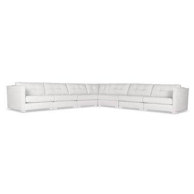 Steffi Buttoned Right and Left Arms L-Shape Modular Sectional Upholstery: White